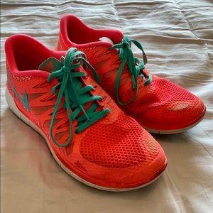 Women's Nike Free Run 5.0 Tennis Shoes Neon Pink